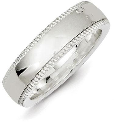 Sterling Silver 6mm Milgrain Wedding Band