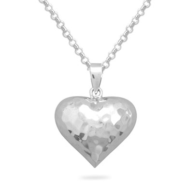 Puffy Heart Pendant, Sterling Silver