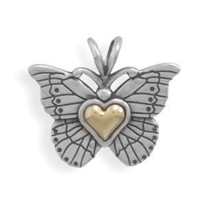 Heart of Gold Sterling Silver Butterfly Pendant