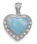 Larimar Heart Pendant, Sterling Silver