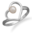Freshwater Pearl Heart Ring, Sterling Silver