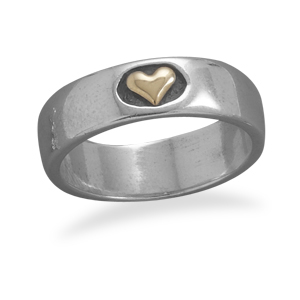 Sterling Silver and 14K Gold Plated Heart Ring