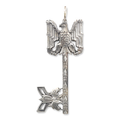 Renaissance Eagle Key Pendant in Sterling Silver
