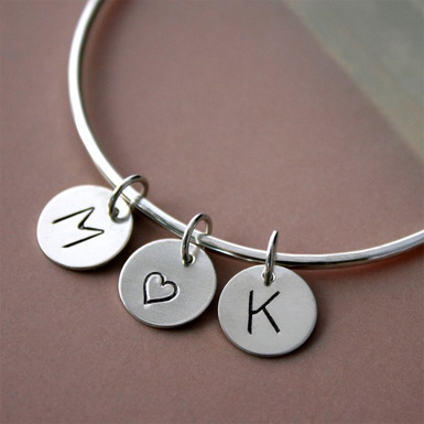 I Heart You Charm Bangle in Sterling Silver