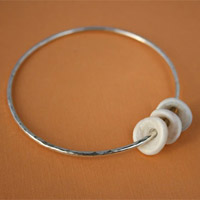 Sterling Silver Bangle Bracelet with 3 Puka Shells