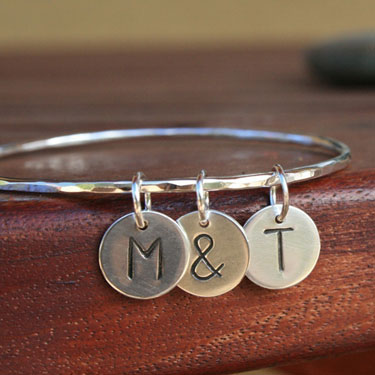Custom Letter Charm Sterling Silver Bangle Bracelet