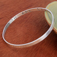 Sterling Silver Custom Stamped Bangle with Secret Inscription