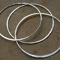 Three Tapered Sterling Silver Bangles - Set of 3