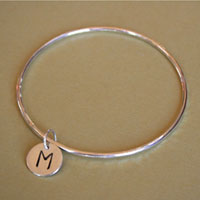 sterling silver initial charm bangle bracelet