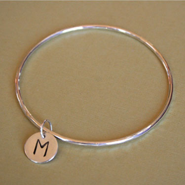 Buy Sterling Silver Initial Charm Bangle