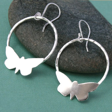 Buy Sterling Silver Butterfly Hoop Earrings