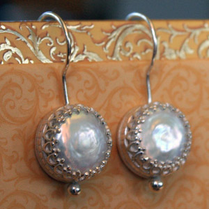 Tudor Pearl Earrings in Sterling Silver (Earrings, Apples of Gold)