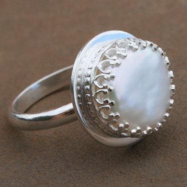 Sterling Silver Tudor Pearl Ring - FINAL SALE - Size 8