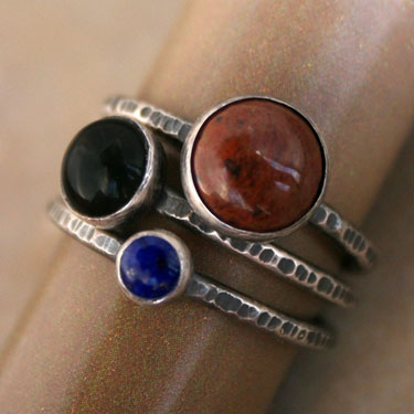 Sterling Silver Earth and Sky Stacking Rings