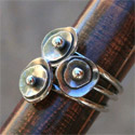 Sterling Silver Sea Anemone Stacking Rings