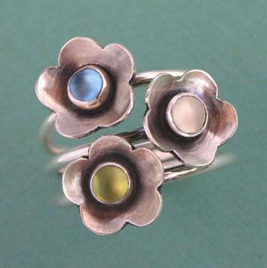 Buy Flower Trio Sterling Silver Gemstone Stacking Rings