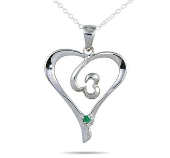 Emerald Heart Pendant in .925 Sterling Silver