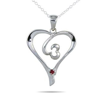 Ruby Double Swirl Heart Pendant in .925 Sterling Silver