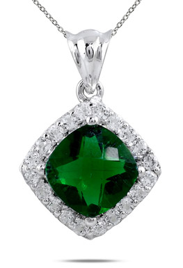 10mm Cushion Cut Created Emerald and White Topaz Pendant in .925 Sterling Silver