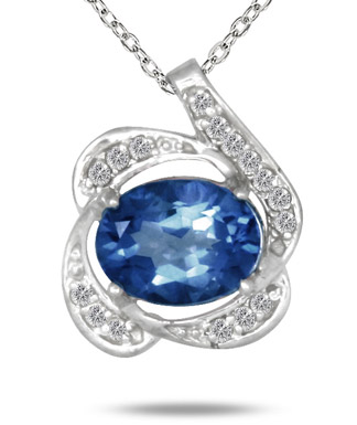 2.75 Carat Created Sapphire and Diamond Pendant in .925 Sterling Silver