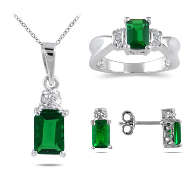 Created Emerald and Diamond Jewelry Set in .925 Sterling Silver