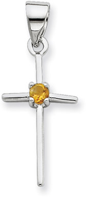 Sterling Silver Cross with Citrine Accent