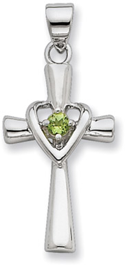 Sterling Silver Heart and Cross Pendant with Peridot Accent