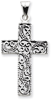 Antiqued Scroll Cross Pendant in .925 Sterling Silver