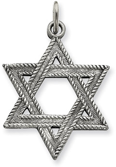 Star of David Pendant in .925 Antiqued Sterling Silver