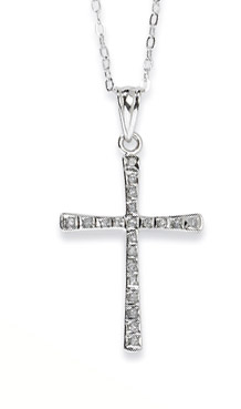 Sterling Silver Diamond Mystique Cross Necklace