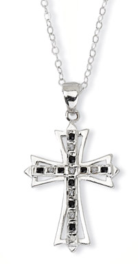 Sterling Silver Black and White Diamond Cross Pendant