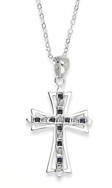 Sterling Silver Sapphire and Diamond Cross Pendant