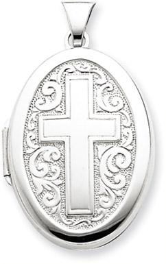 Sterling Silver Oval Cross Locket
