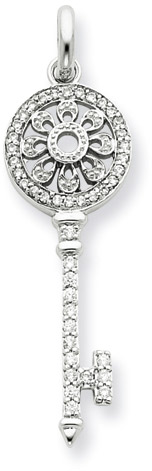 .925 Sterling Silver and CZ Filigree Key Pendant