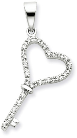 .925 Sterling Silver CZ Heart Key Pendant