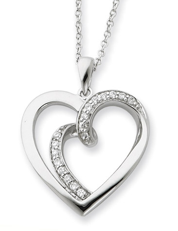Two Hearts One Flesh Sterling Silver Heart Pendant