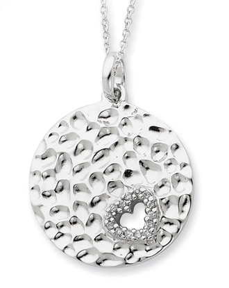 I Wish You Enough Love Sterling Silver Disc Pendant with CZ Heart Accent