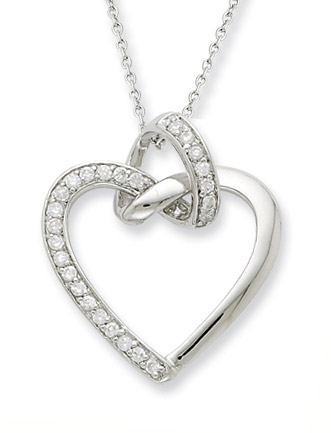 Friendship Promises Heart Necklace, Sterling Silver