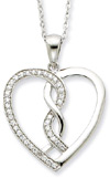 Hearts Joined Together Necklace, Sterling Silver