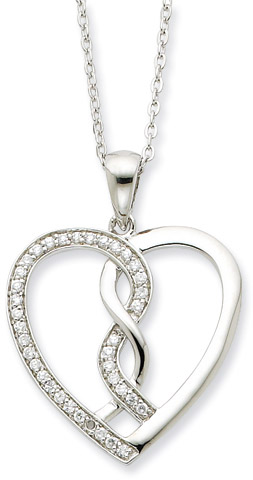 Hearts Joined Together Sterling Silver Heart Pendant