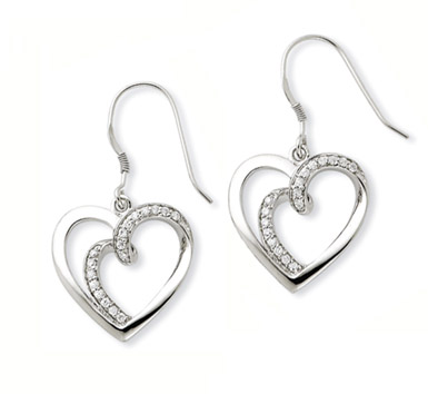 One Flesh Sterling Silver Heart Earrings