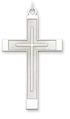 Laser Engraved Designer Cross Pendant in .925 Sterling Silver