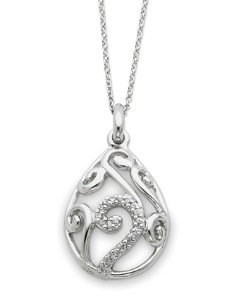 Sterling Silver and White Agate Dew of Heaven Pendant with CZ Accent