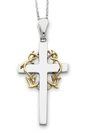 Sterling Silver Thorn and Cross Pendant with 14K Gold Accent