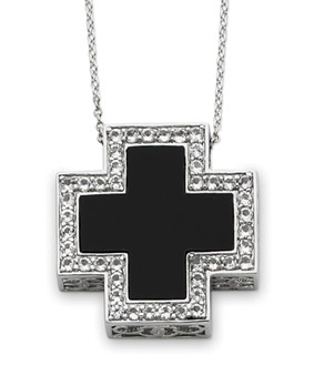 Sterling Silver and Black Onyx Battle Cross Pendant with CZ Accents