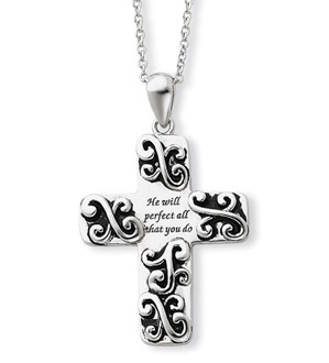 He Will Be Perfect Sterling Silver Cross Pendant
