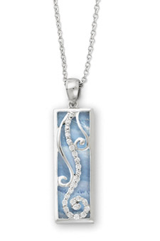 Blue Lace Agate & Sterling Silver Living Water Pendant with CZ Accents