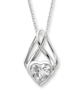 Sterling Silver Knot Pendant with CZ Accent