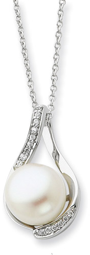 Sterling Silver and Pearl Embrace Necklace