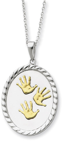 Hand Prints Sterling Silver Pendant with 14K Gold Accent